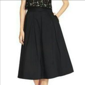 WHBM tafetta pleated black cocktail skirt